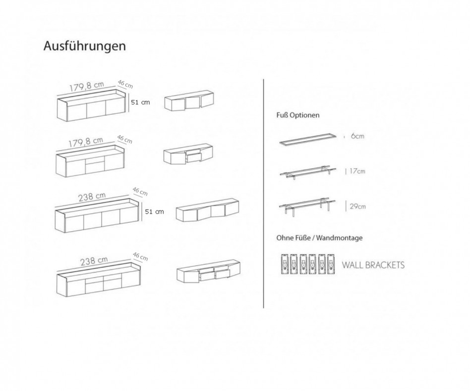 Stilvolles Design Sideboard Aluminium Abdeckplatte mit drei Türen