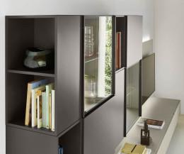 Moderne Livitalia Design Wohnwand C39 Glastüren mit Beleuchtung in Braun Matt
