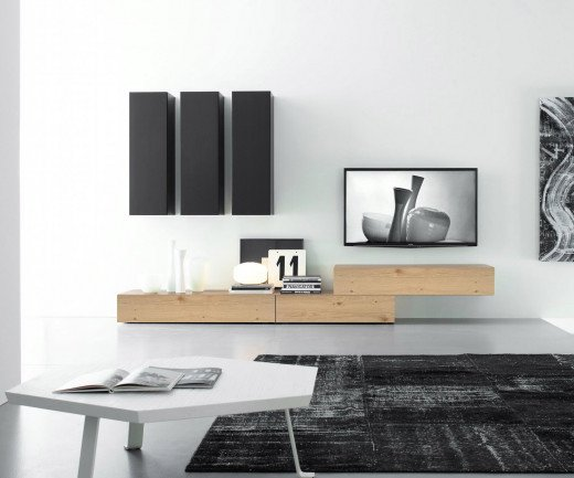 Exklusive Livitalia Design Wohnwand C14B in Eiche Hell furniert