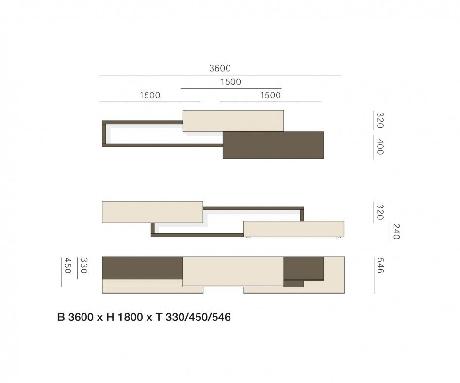 Exklusive Livitalia Moderne Design Wohnwand C28 in Eiche furniert Beige Matt