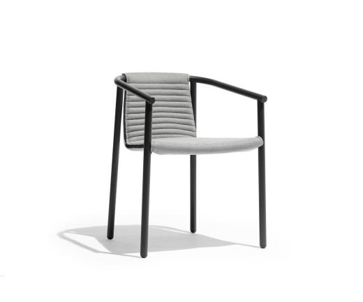 Moderner Todus Duct Round Design Armlehnenstuhl pulverbeschichteter Edelstahl