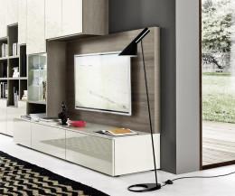 Moderne Designer Wohnwand C64 mit Bücherregal und TV Paneel