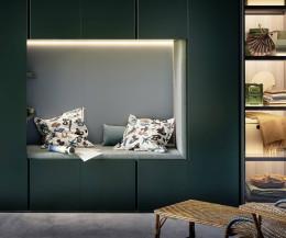 Hochwertige gepolsterte Sitznische im Design Kleiderschrank Gola