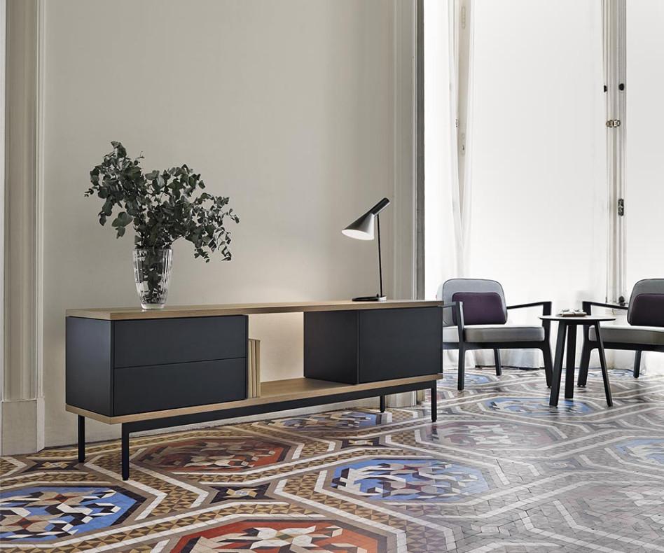 Modernes offenes Design Sideboard Punt Slats Eichen Furnier Schwarz