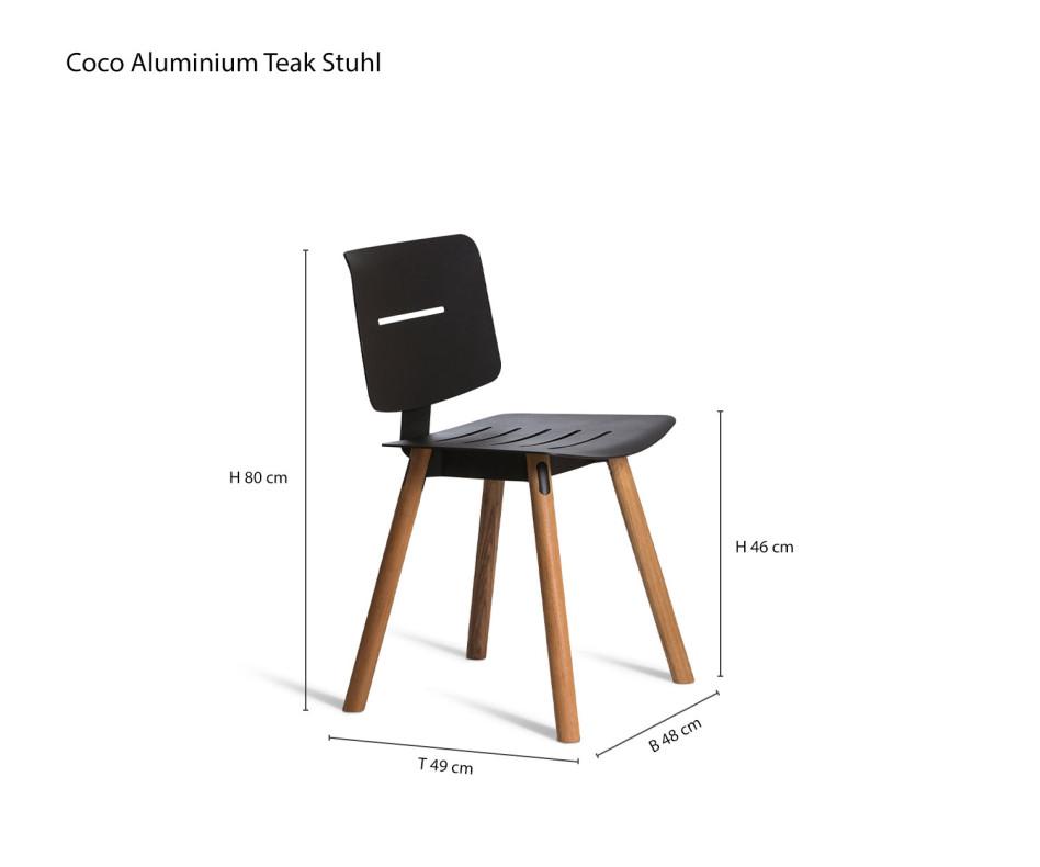 Moderner Design Stuhl mit Teakbeinen und Aluminiumsitz