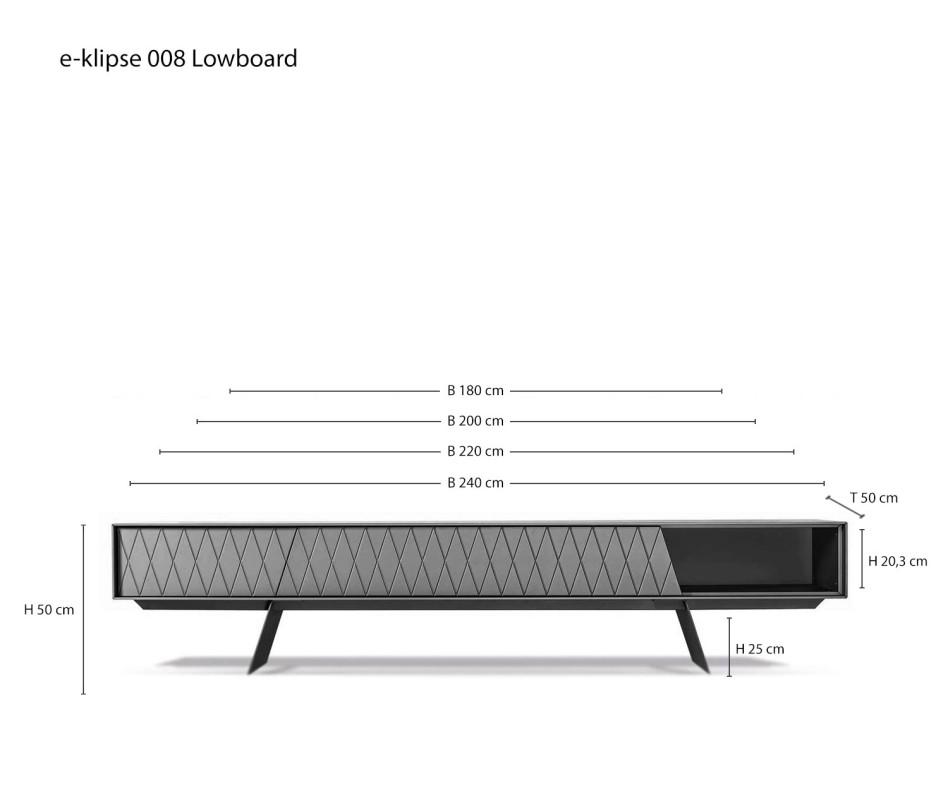 al2 e-klipse 008 Design Lowboard auf Füßen mit Front Rautenmuster und Klapptür