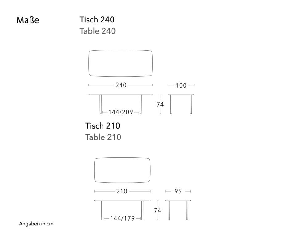 Conde House Kamuy Design Tisch in Nussbaum massiv Tischplatte in Furnier
