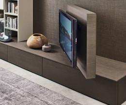 Modernes Livitalia Design Lowboard mit 90° schwenkbarem Fernsehpaneel