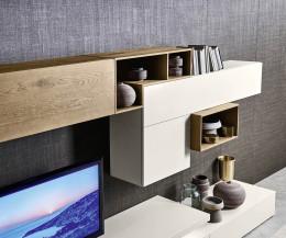 Moderne Livitalia Design Wohnwand C22 mit Hängeschränke in Eichenfurnier und Beige Matt