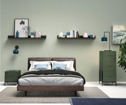 Exklusive Novamobili Design Hochkommode Float in Grün im Schlafzimmer