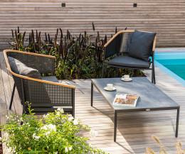 Wetterfestes Oasiq Designer Lounge Sofa Metall Gestell Teak Rückenlehne