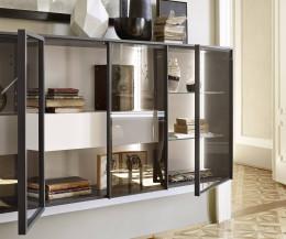 Moderner Livitalia Design Hängeschrank mit Glastüren mit schmalem Rahmen