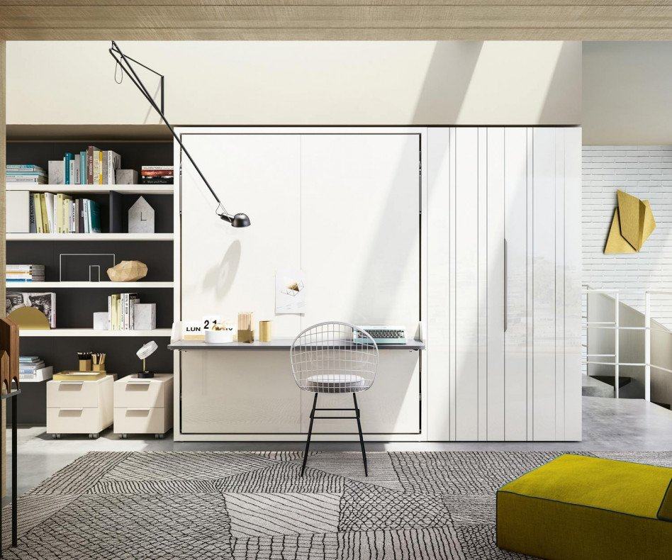 Modernes Clei Penelope 2 Dining Designer Schrankbett mit Esstisch