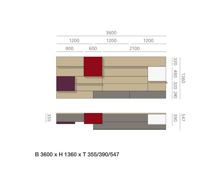 Exklusive Livitalia Design Wohnwand C37 mit TV Lowboard in Grau Matt lackiert