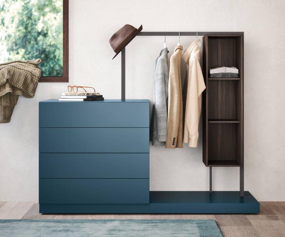 Hochwertige Kommode Easy 4 von Novamobili mit Garderobe und Regalelement