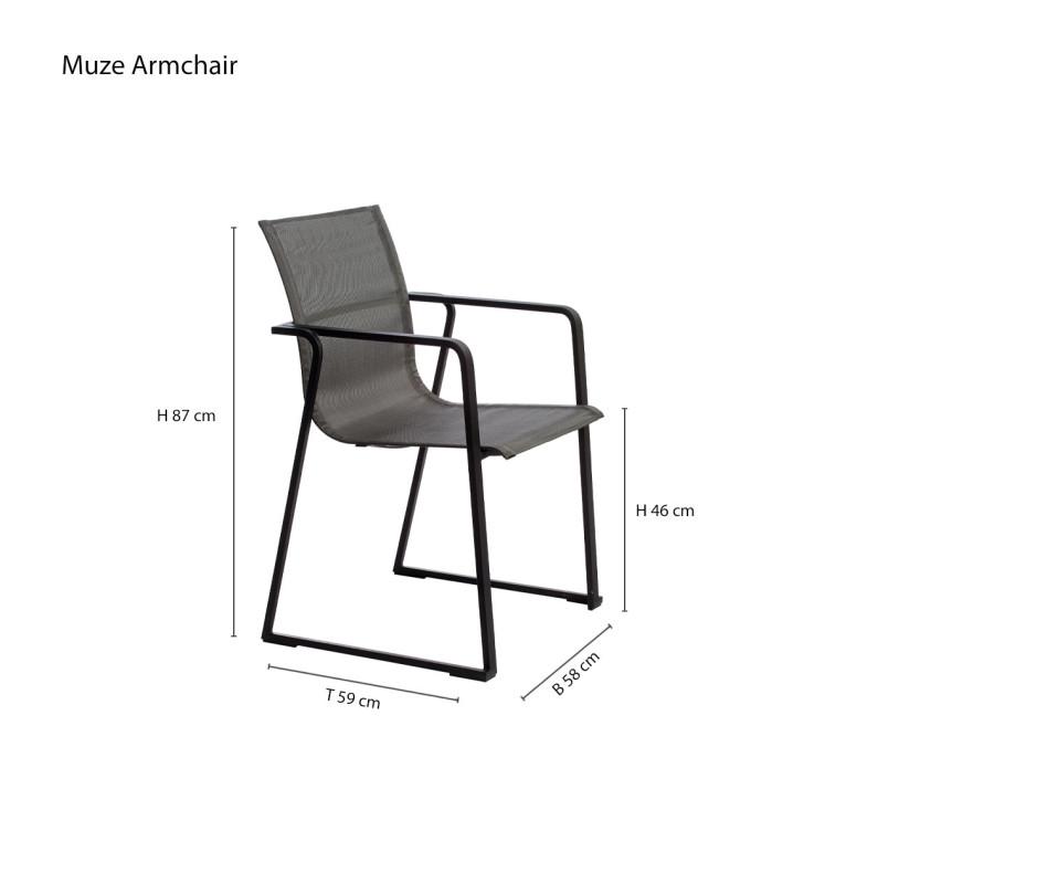 Moderner Oasiq Muze Designer Armlehnenstuhl Anthrazit Stoffbezug Grau