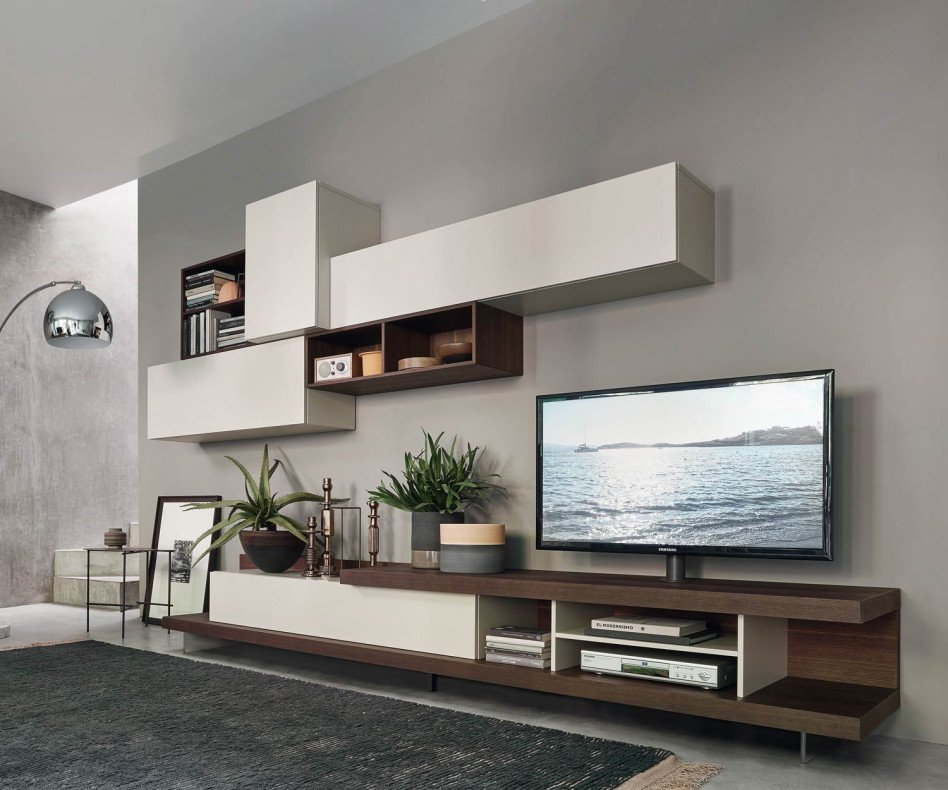 Exklusive Livitalia Design Wohnwand C52 mit TV Lowboard und Hängechränken