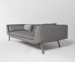 Prostoria Combine 3-Sitzer Design Sofa grau seiteliche Armlehne
