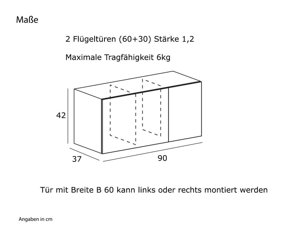 Hochwertiger Novamobili Reverse Wandschrank B90 x H42