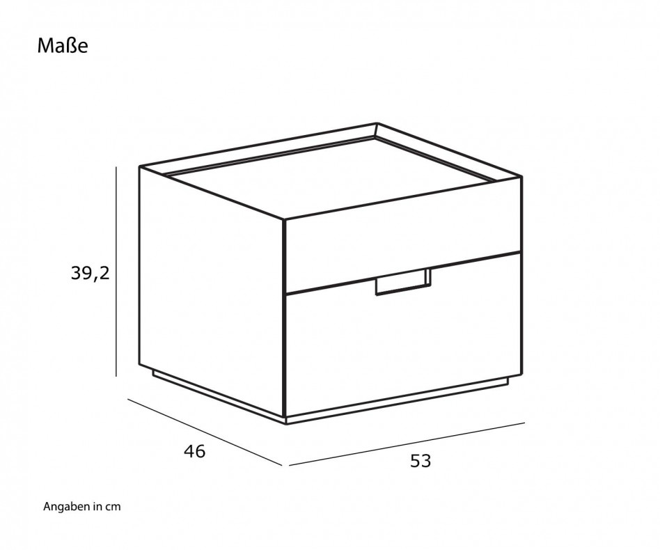 Moderner Novamobili Design Nachttisch Quarantacinque 2 Schubladen Eiche hell