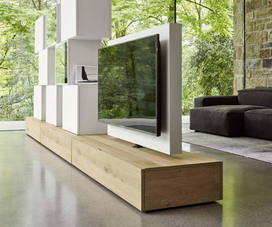 Exklusiver Livitalia Roto Lowboard Design Raumteiler mit drehbarem TV Paneel