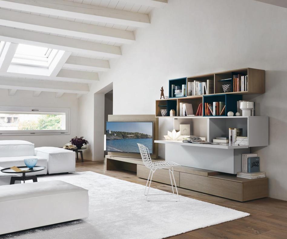 Exklusive Livitalia Design Wohnwand C44 mit TV Paneel und Schreibtisch