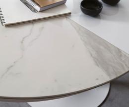 Designer Esstisch Eclipse von Ozzio Marmor Glas Calacatta im Detail die Tischplatte