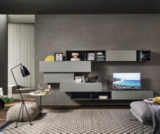 schwebende design wohnwand c25 mit tv board. Black Bedroom Furniture Sets. Home Design Ideas