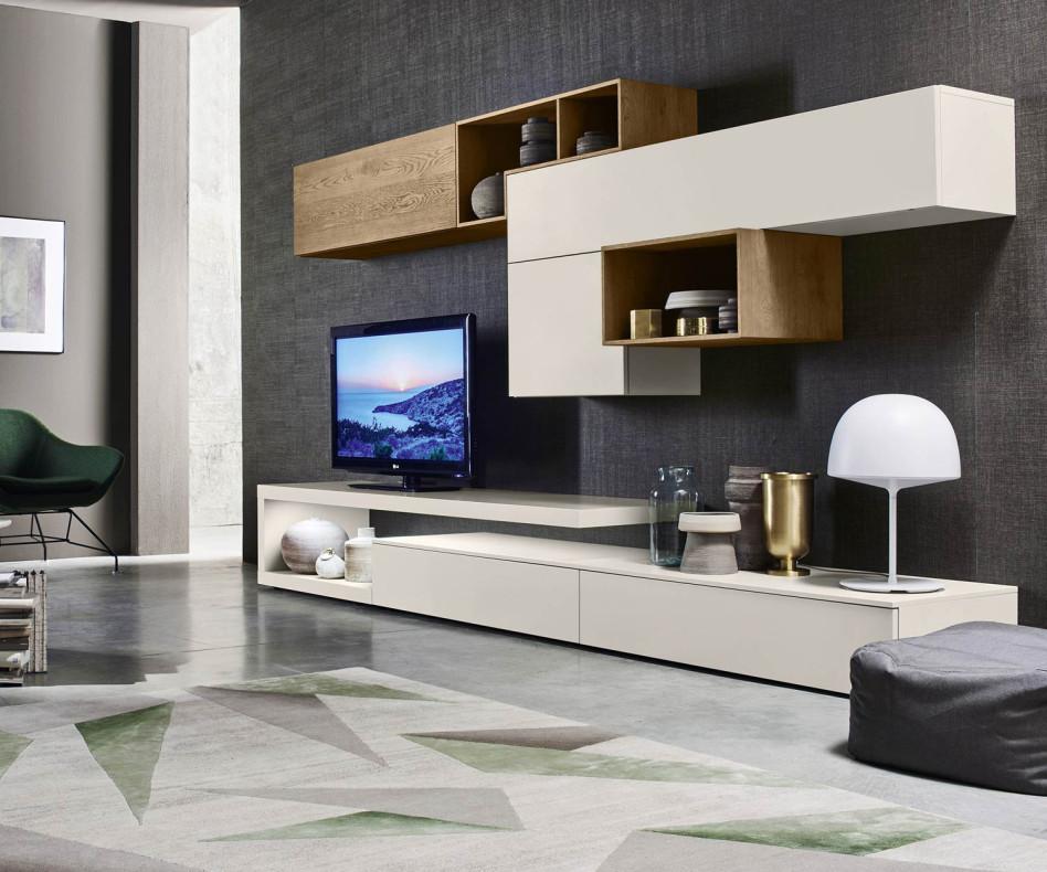Exklusive Livitalia Design Wohnwand C22 im Landhaus-Stil in Beige Matt lackiert