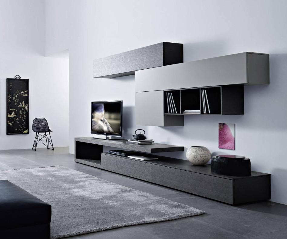 Moderne Design Wohnwand C99 mit Carbone Eiche und schwebenden TV Board