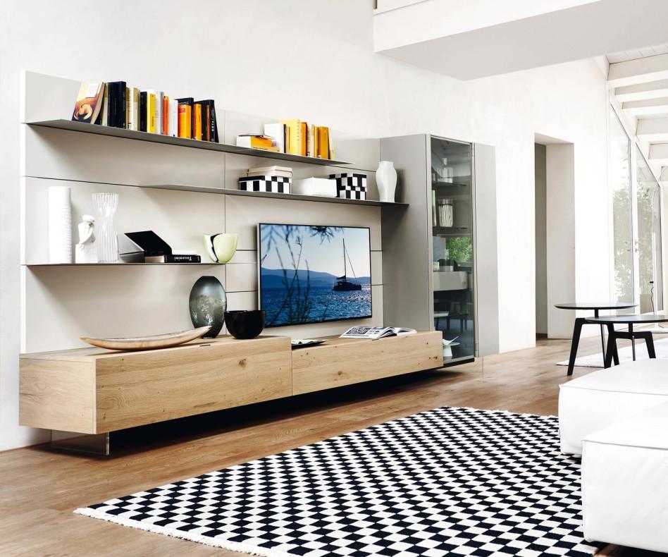 Exklusiver Livitalia TV Design Sockel transparent schwebend durchsichtig