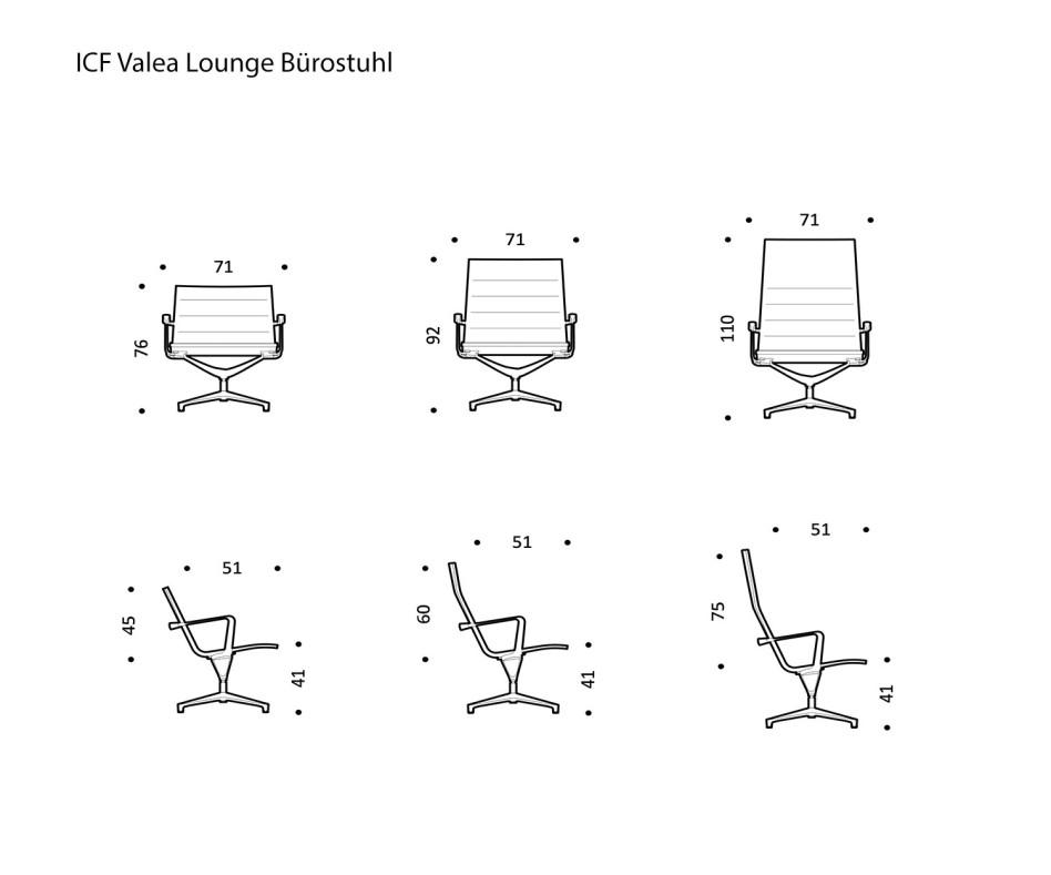Exklusiver ICF Valea Lounge Drehstuhl Aluminium Leder Tobacco