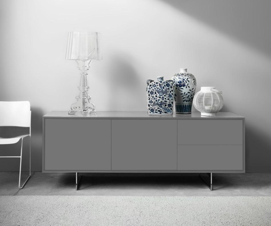 Exklusives Novamobili Sideboard Schatten 3 mit Schubladen in der Mitte Weiß Matt