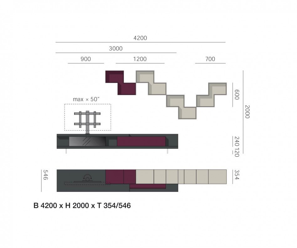 Exklusive Livitalia Design Wohnwand C53 mit TV Halterung in Dunkelgrau Matt