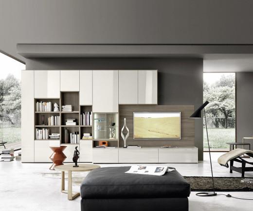 Exklusive Livitalia Design Wohnwand mit Bücherregal C64