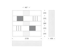 Hochwertigs Livitalia Design Standregal C92 Raumteiler Weiß Maße Skizze Größen