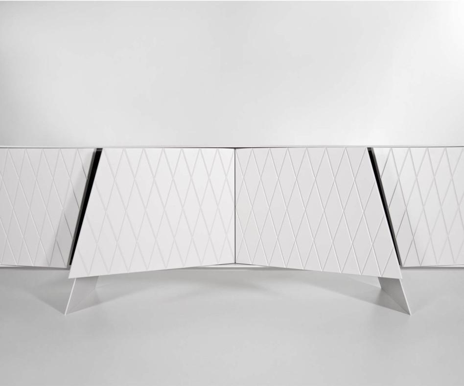 al2 e-klipse 003 Design Sideboard in Weiß Matt mit Rautenmuster