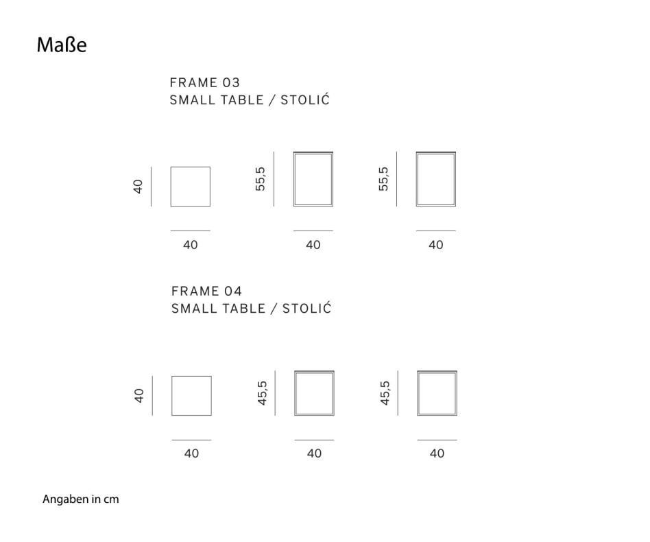 Moderner Prostoria Designer Couchtisch Frame HPL Tischplatte
