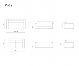 Prostoria Sofa Classic Skizze Maße Größen