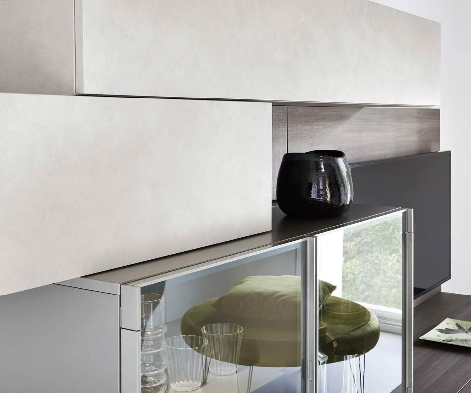 Exklusive Livitalia hängende Design Wohnwand C35 in Ulme mit Glasvitrine