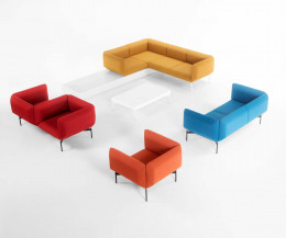 Modernes Prostoria Design Sofa Segment Vis-a-vis in Rot