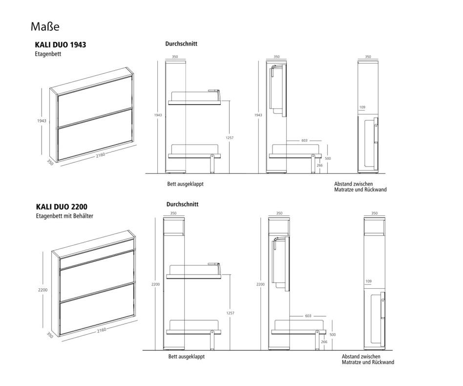 Exklusives KALI DUO 1943 / 2200 Design Schrankbett mit Schreibtisch