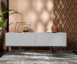 Hochwertiges al2 Mobius 002 Design Sideboard mit vier matt lackierten Türen in Weiß Matt