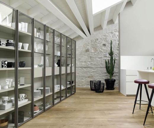 Modernes Livitalia Bücherregal mit Glasvitrine C63