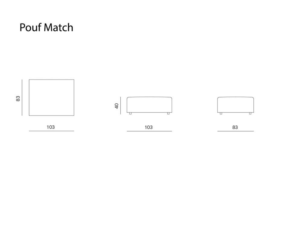 Exklusiver Prostoria Design Pouf Hocker Match in Hellgrau