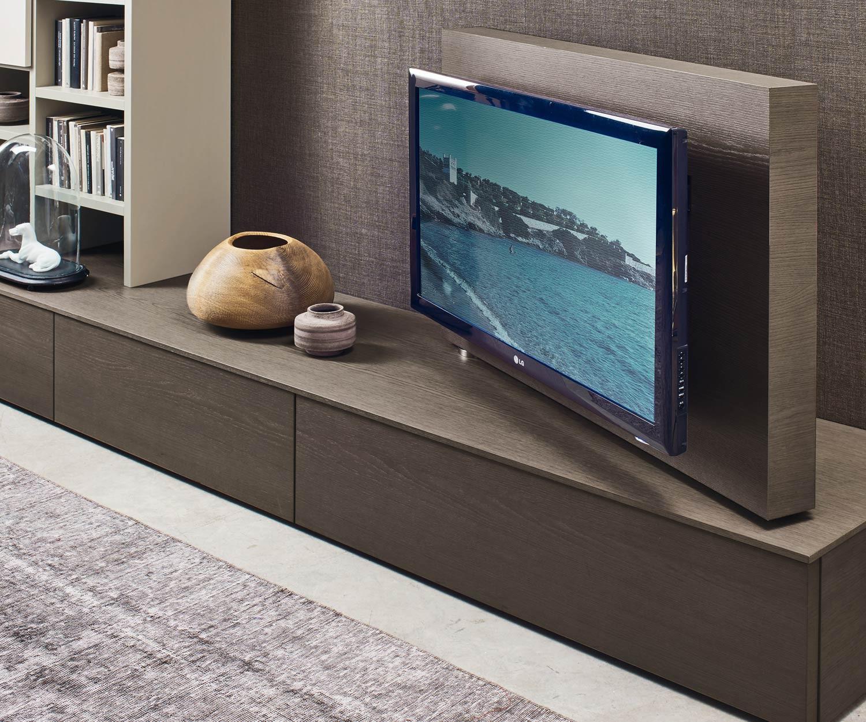 Livitalia Design Wohnwand C45 mit Bücherregal und TV Paneel