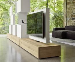 Exklusive Livitalia Design Wohnwand C46 mit drehbarem TV Paneel in Weiß Matt