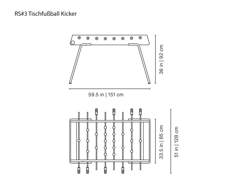 Exklusiver RS Barcelona RS#3 Design Tischfußball Kicker Weiß RAL9010