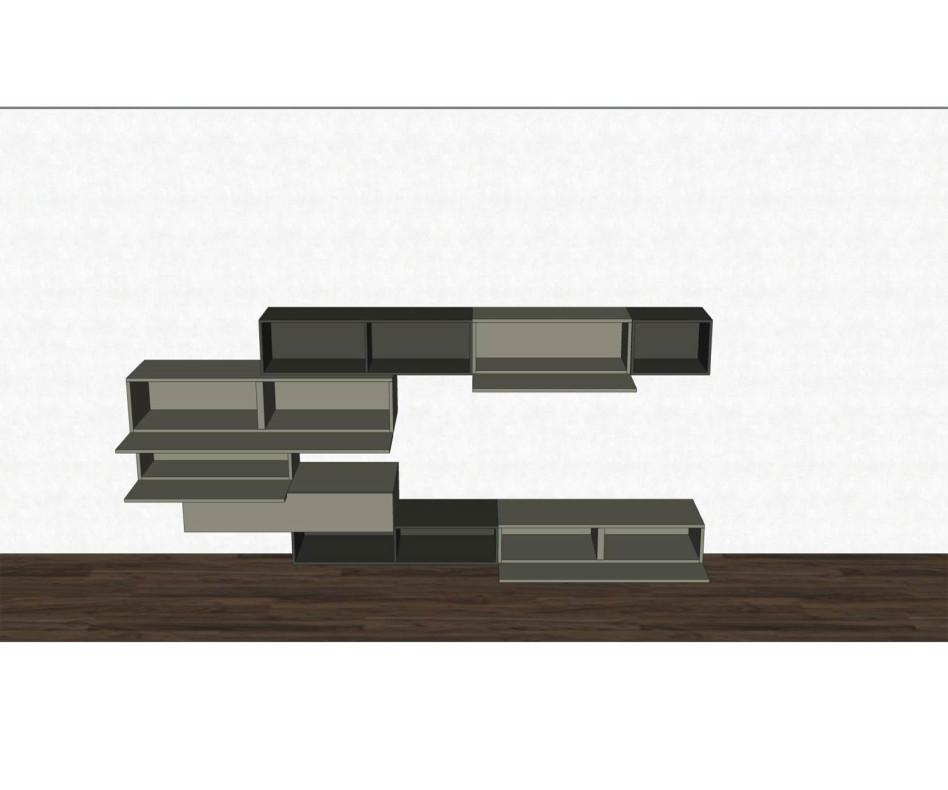 Schwebende Livitalia Design Wohnwand C02 mit Hängeschränken in Grau