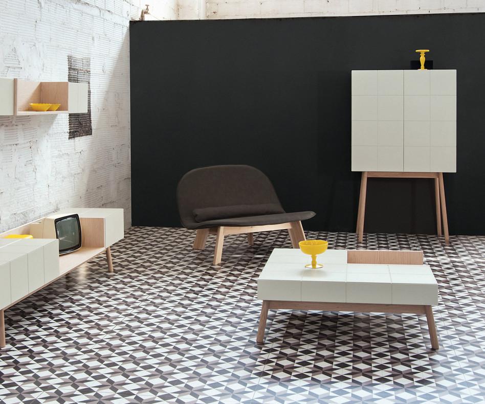 Moderner al2 Design Couchtisch MOS-I-KO mit BOX im Esszimmer mit Highboard
